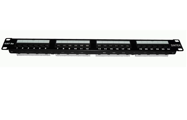 Patch panel 24 port Dintek, CAT.5e, 19 inch (1402-03019)