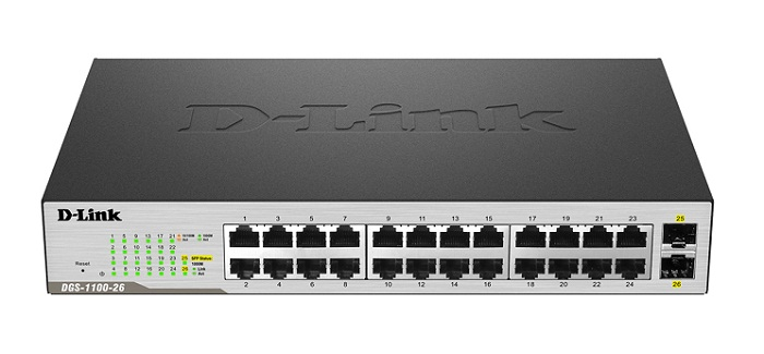 24 Port 10/100/1000Mbps + 2 SFP Gigabit Smart Switch D-Link DGS-1100-26