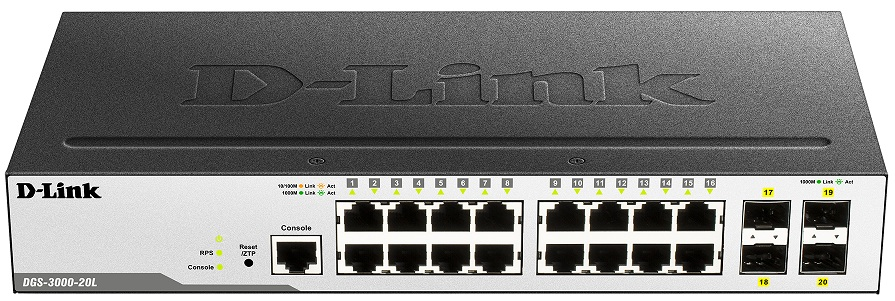 16-port 10/100/1000 BaseT + 4-port SFP L2 Gigabit Managed Switch D-Link DGS-3000-20L