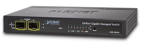 8-port 10/100/1000Mbps + 2-port 100/1000X SFP Switch PLANET GSD-1002M