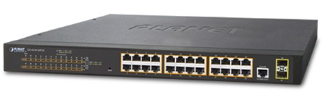 24-port 10/100/1000Mbps PoE Switch PLANET GS-4210-24P2S