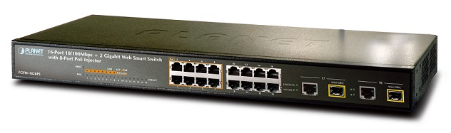 16-port 10/100Mbps + 2 Gigabit TP/SFP PoE Switch PLANET FGSW-1828PS