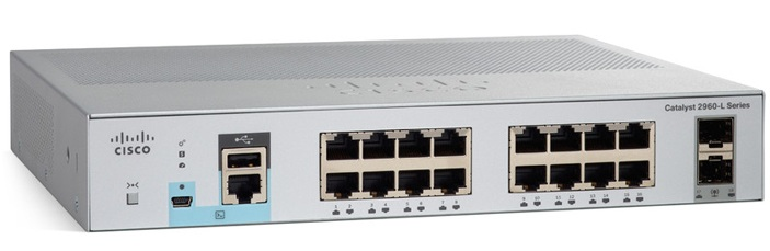 16-Port Gigabit Ethernet + 2 x Gigabit SFP Switch Cisco WS-C2960L-16TS-LL
