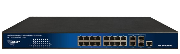 16-Port 10/100/1000Base-T PoE + 2 Gigabit SFP Managed Switch ALLNET ALL-SG8918PM
