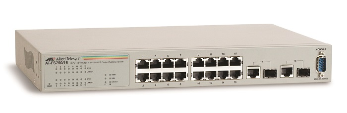 16-port 10/100TX Fast Ethernet WebSmart Switch ALLIED TELESIS AT-FS750/16