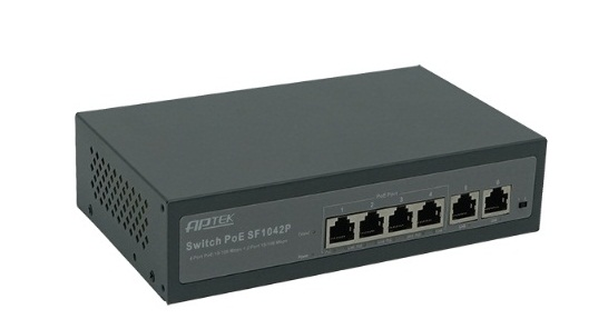4-Port 10/100Mbps PoE Switch APTEK SF1042P