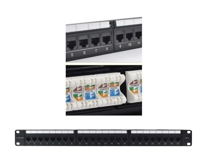 Patch panel 24-port Unshielded VIVANCO CAT.5E (VCCPUF5241A)