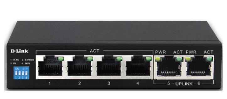 6-Port 10/100 with 4 PoE port Switch D-Link DES-F1006P